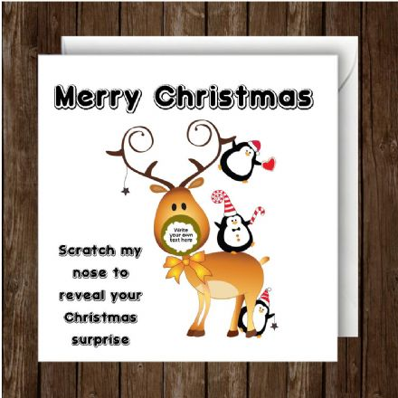 Personalised your own Christmas Reindeer Scratch Card